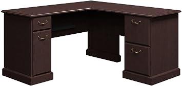 Bush Business Furniture Enterprise 60W x 60D L-Desk with Hutch in Mocha Cherry