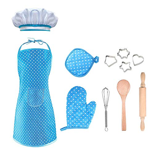 dmazing 3-8 Years Old Girls Gifts, Cooking and Baking Set Toddler Role Play Cook Costume with Apron for Girls Children Dress Up Pretend Play Christmas Xmas Gifts For Age 3-8 Kids Stocking Fillers Blue (The Best Girl Games Ever Dress Up)