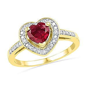 Size - 9 - Solid 10k Yellow Gold Heart Round Red Simulated Ruby And White Diamond Engagement Ring OR Fashion Band Prong Set Solitaire Shaped Halo Ring (.03 cttw)