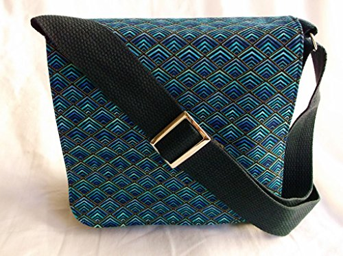 New Chevron Blue Messenger Bag By Gifts and Beads by Gifts and Beads