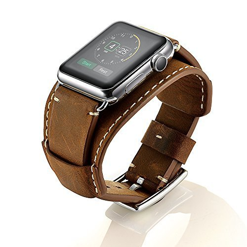 (LoveBlue For Series 3/Series 2/Series 1 Watch Band, Buckle Cuff Apple Watch Leather Band, Genuine Leather Band Bracelet Wrist Watch Band with Adapter for Apple Iwatch (42mm-Crazy Horse Leather Brown))