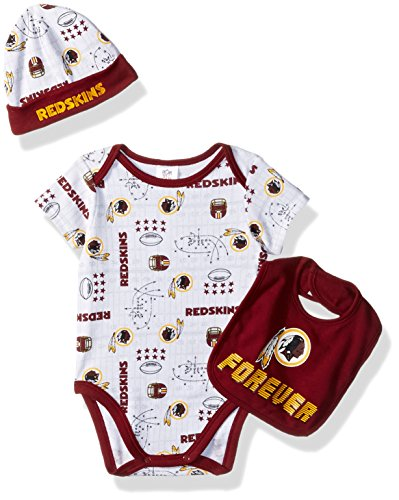 NFL Washington Redskins Unisex-Baby Bodysuit, Bib & Cap Set, Red, 3-6 Months
