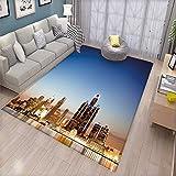 Detroit Decor Floor Mat for Kids Michigan Skyline at Twilight Waterfront Lively City Serene Travel Destination Bath Mat Non Slip Multicolor