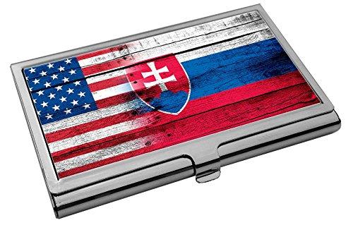 Premium Stainless Steel Business Card Holder - Flag of Slovakia (Slovak) - - Svk Slovakia