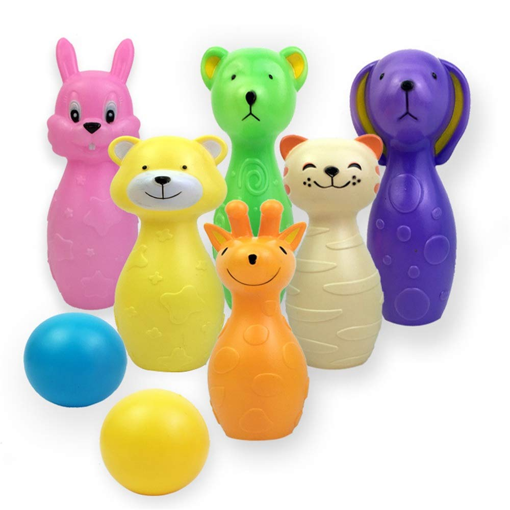 Bowling toy Set 6 Colorful Pins 2 Balls Educational Development Bowling Pins Bowling Set Toy Sports Indoor Outdoor Play Game For Kids Children Toddlers Boys Girls For Early Development Sport Preschool by Yuybei-Home
