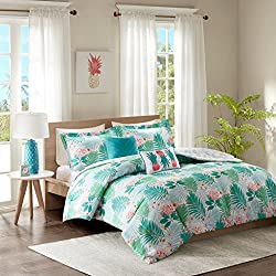 Intelligent Design Tropicana Comforter Set Full/Queen Size - Aqua, Tropical Floral Pineapple Print – 5 Piece Bed Sets – Ultra Soft Microfiber Teen Bedding for Girls Bedroom