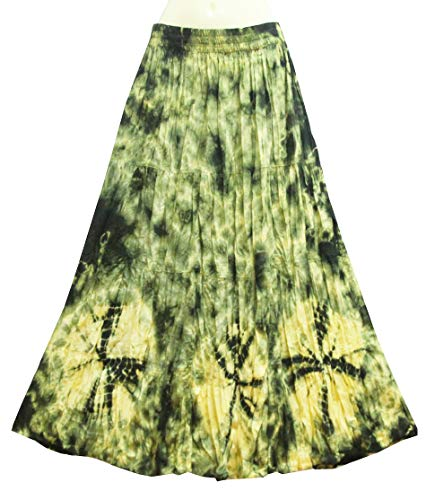 - ATM Boho Bohemaian Gypsy Maxi A-line Elastic Waist Long Skirt Handmade Tie dye Plus Size (Green)