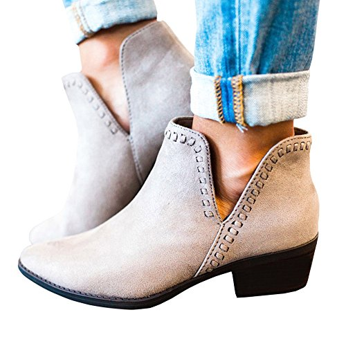 TnaIolr Women Autumn Shoes Winter Fashion Ankle Boots Solid Leather Ladies Shoes Short Boots ()