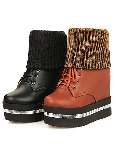 Uk4 Xzz Eu37 5 Negro Zapatos Semicuero Vestido Cn40 5 Brown Botas 5 us8 De Brown 5 Plataforma Marrón Creepers Mujer Redonda Punta Eu39 Cn37 Uk6 5 7 us6 Casual q4rPSpqv