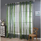 Polyester yarn cut flower Half shading Living room bedroom The finished product Wear bar Window Curtains 1 Panel , green , 100*200cm