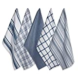 DII Kitchen Dish Towels (Stone Blue, 18x28'), Ultra Absorbent & Fast Drying, Professional Grade Cotton Tea Towels for Everyday Cooking and Baking -  Assorted Patterns, Set of 5