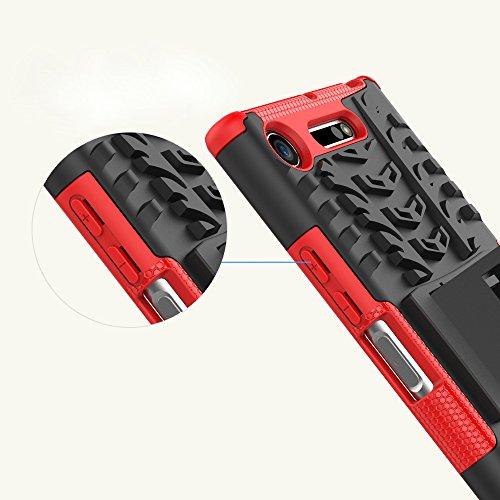 OFU®Para Sony Xperia XZ1 Smartphone, Híbrido caja de la armadura para el teléfono Sony Xperia XZ1 resistente a prueba de golpes contra la lucha de viaje accesorios esenciales del teléfono-rojo rojo