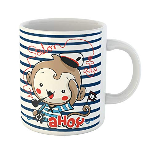 Semtomn Funny Coffee Mug Cute Cartoon Monkey Boy Wearing Sailor Hat and Holding 11 Oz Ceramic Coffee Mugs Tea Cup Best Gift Or Souvenir ()