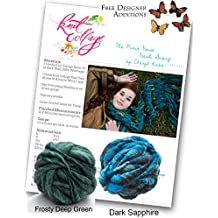 Knitting Kit: Bulky Dash Scarf from Knit Collage (Frosty Deep Green and Dark Sapphire)