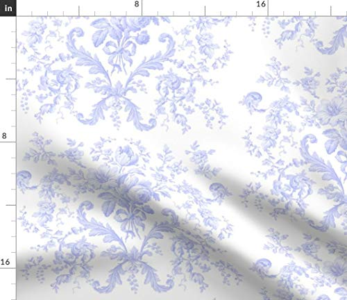 Spoonflower Blue Fabric - Purple Lavender Rococo Roses French Toile by Lilyoake Printed on Linen Cotton Canvas Ultra Fabric by The Yard