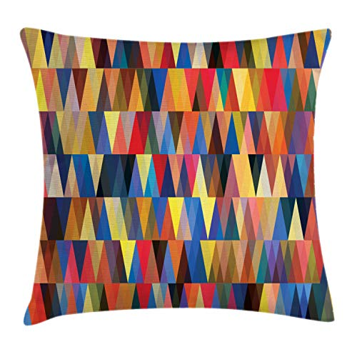 Contemporary Accent Pillows - Lunarable Abstract Triangle Throw Pillow Cushion Cover, Funky Bohemian Art Pastel Retro Mosaic Vibes Contemporary Motif, Decorative Rectangle Accent Pillow Case, 36