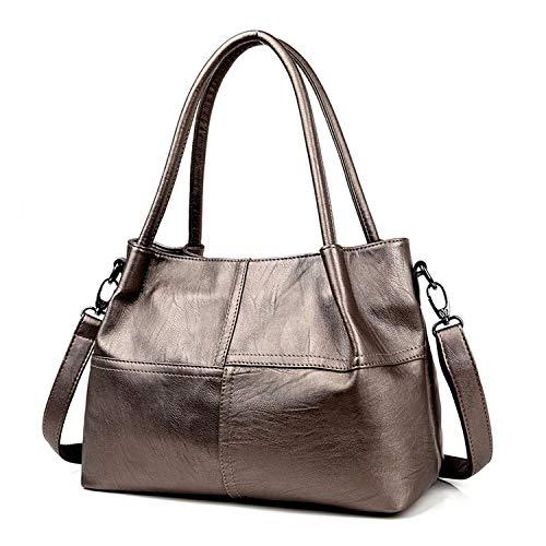 Ladies HBag Women'S Genuine Leather Handbag Black Leather Tote Bags Female Shoulder Bag,Gold ()