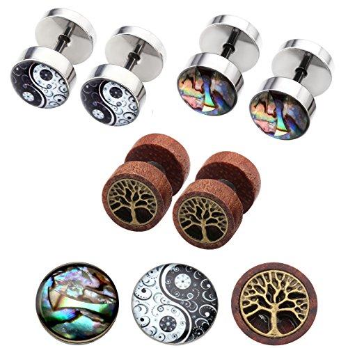 PiercingJ 6pcs 16G Mens Womens Stainless Steel Flower Life Tree Stud Barbell Earrings Illusion Ear Plug 0G Gauge Look