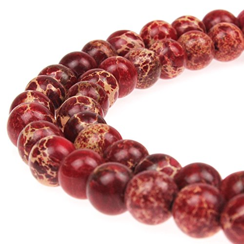 JarTc Natural Stone 6 Colors Sea Sediment Imperial Jasper Round Loose Beads for jewelry Making (6mm, red)