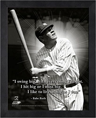 Pro Photo 16x20 Bowl (Babe Ruth New York Yankees framed Swing Big Pro Quotes 16x20)