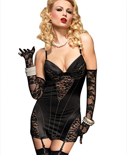 Leg Avenue 86515 Women's Satin Underwire Garter Dress Chemise - Medium - Black ()