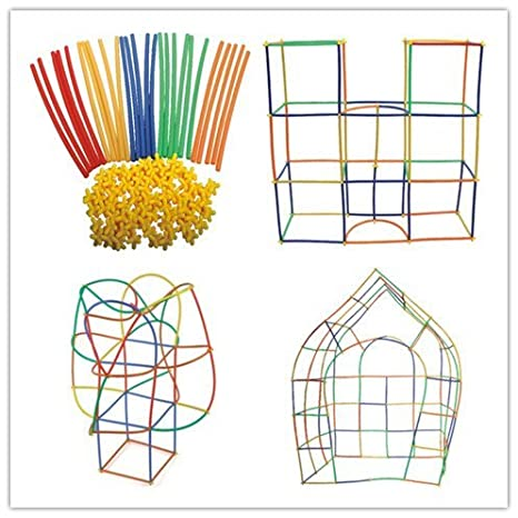 Vibgyor Vibes Magic Building Straw Blocks - Colourful Plastic Building Straws and Connectors - Innovative Shapes and Designs Can Be Made (Multi Color) Toy Figures at amazon