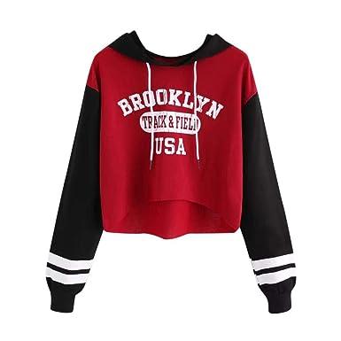 the best attitude b99cb e21c8 JURTEE Damen Herbst Langarm 'Brooklyn' Brief Kapuzenpullover Hooded  Sweatshirt Oberteile Pullover Hoodie Tops Bluse