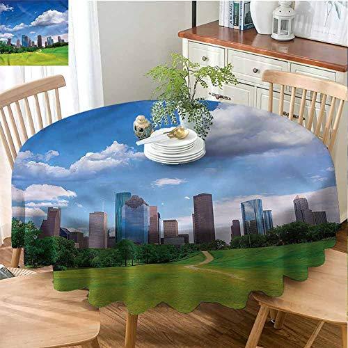 ScottDecor Restaurant Round Tablecloth USA,Houston Texas Modern Skyscraper Outdoor Picnics Diameter 36