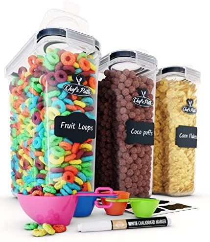Amazon Com Cereal Container Storage Set Airtight Food Storage Containers 8 Labels Spoon Set Pen Great For Flour Bpa Free Dispenser Keepers 135 2oz Chef S Path 3 Kitchen Dining