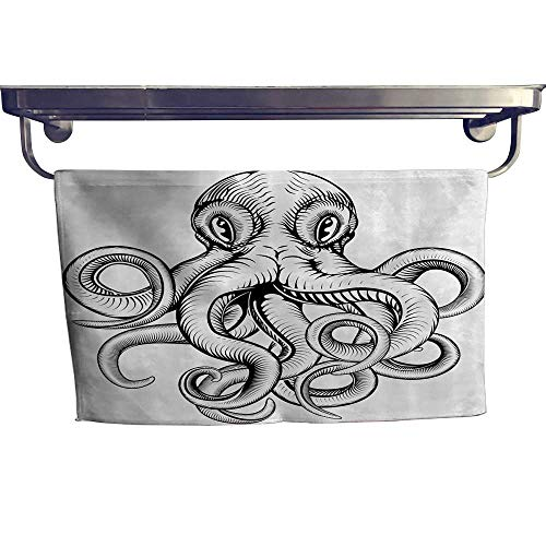 (Leigh home Dry Fast Towel, an Octopus in Dynamic Woodblock Style Mochromic Artwork ,Gym Swim Hotel Use W 23.5