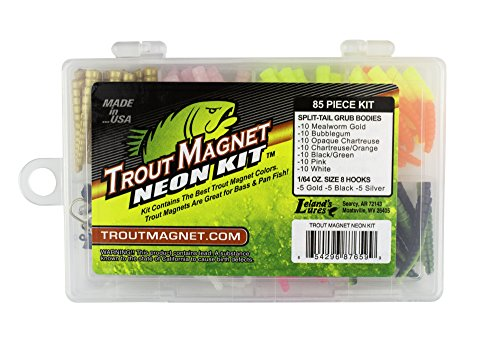 Leland Lures Trout Magnet Neon Kit - 70 Grub Bodies and 15 Size 8 Hooks