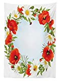 Ladybugs Decorations Tablecloth Camomile and Poppy Frame in the Shape of Circle Love Celebration Events Daisy Dining Room Kitchen Rectangular Table Cover