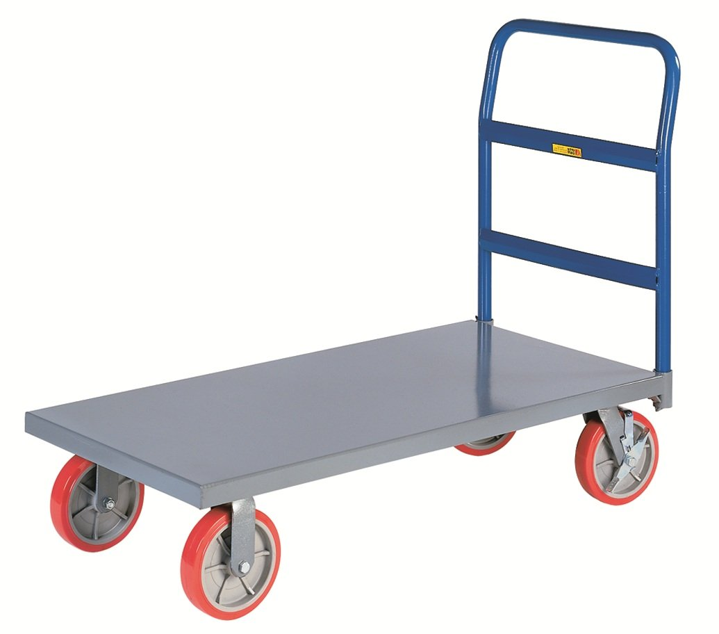 Little Giant NBB-2448-8PYBK 12-Gauge Steel Heavy-Duty Platform Truck with 8'' Polyurethane Non-Marking Tread Casters, 3600 lbs Capacity, 48'' Length x 24'' Width