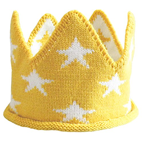 (Lujuny Baby Knit Crown Hat - Crochet Headband Cap for Birthday Tooth Party Costume Photoshoot (Yellow))