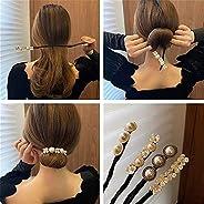 4 PCS Lazy Flower Hairpin,Vintage Pearl Flower Hairpin,Elegant Meatball Head Hair Device Lazy Half Ball Hairpi