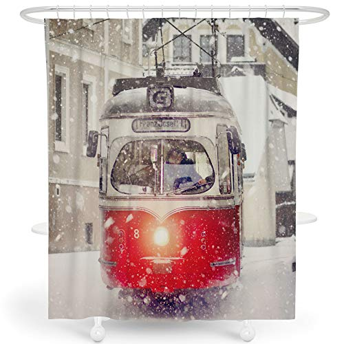 LIVETTY Kids Shower Curtains Bathroom White Vehicles City View Red Trains in Snow Winter Shower Curtain Set Polyester Weighted Hem 72x72 Inch Hooks Included