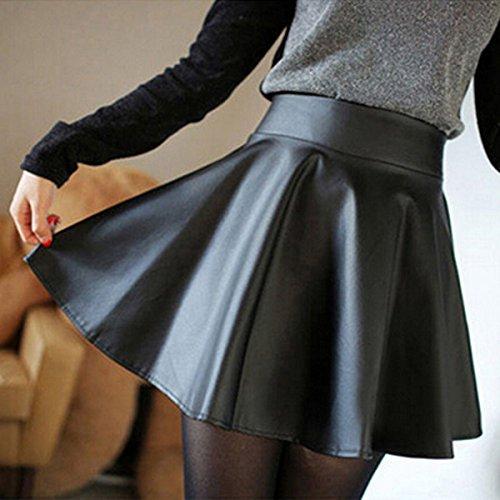 Cuir Automne Vintage CHRISTYLE Mini Femme jupe Mode Crayon taille patineuse vas Noir court pliss Haute qAqHtI