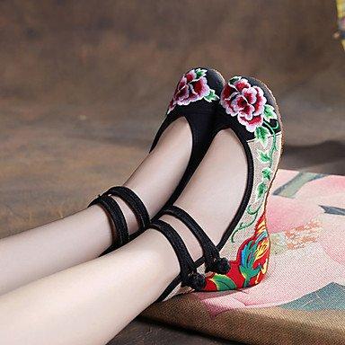 Cómodo y elegante soporte de zapatos de las mujeres pisos primavera verano otoño invierno comodidad Espadrilles tela al aire libre Casual soporte de talón hebilla flor negro verde rojo Walking verde