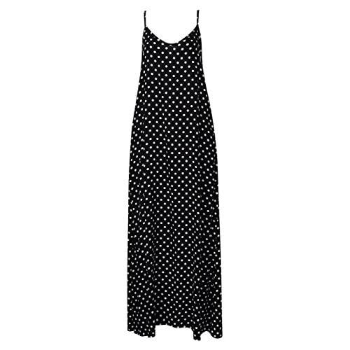 02a6080c25 Leadingstar Women V-Neck Sleeveless Polka Dot Print Spaghetti Strap Boho  Beach Maxi Dress 50