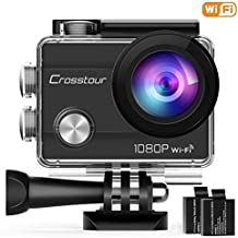 """Crosstour WiFi Action Camera Full HD 1080P Underwater Cam 2"""" LCD Screen Waterproof 30M 170° Wide-Angle Sports Camera with 2 Rechargeable 1050mAh Batteries and 20 Mounting Accessory Kits"""