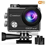 "Crosstour WiFi Action Camera Full HD 1080P Underwater Cam 2"" LCD Screen Waterproof 30M 170° Wide-Angle Sports Camera with 2 Rechargeable 1050mAh Batteries and 20 Mounting Accessory Kits"