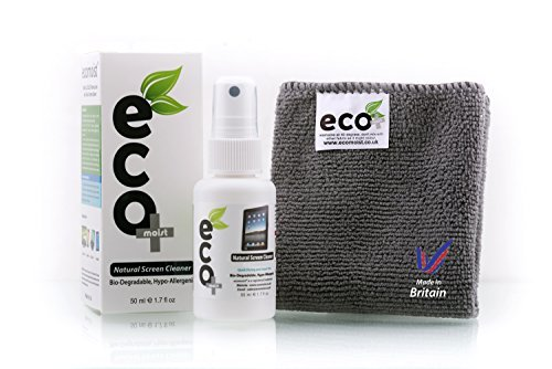 Kit Cleaning Macbook (EcoMoist Natural Organic Screen Cleaner with Microfiber Cleaning Cloth Best Spray Kit For TV Computer Laptop Lcd Led)