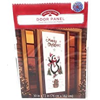christmas holiday door panel cover ice skating penguin measures 30 x 72