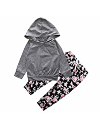 Baby Girls Gray Hoodie Top + Floral Pant Leggings 2 Piece Outfits Set