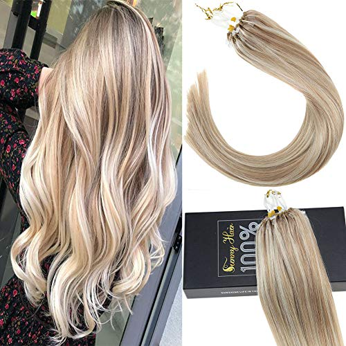 Sunny 18inch Micro Ring Hair Extensions Human Hair Dark Ash Blonde Mixed Bleach Blonde #18/613 Highlight Remy Micro Loop Hair Extensions 1g/s 40g+10g for free,50g/pack in Total. (1 Gram Loop Extensions)