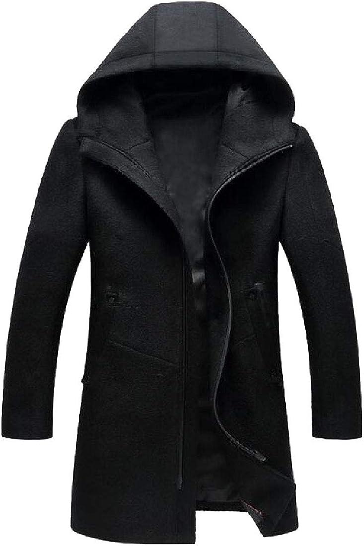 xiaohuoban Mens Hood Half Zipper Jackets Outwear Pea Wool Blend Classic Outwears