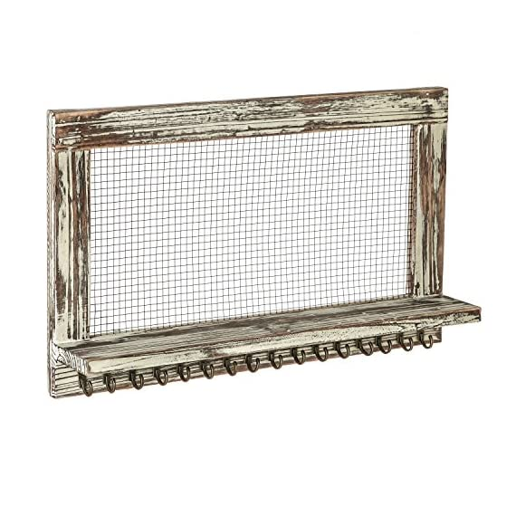MyGift Distressed Wood Wall Mounted Jewelry Earring Bracelet Organizer Display Shelf with 16 Necklace Hooks - WALL-MOUNTED JEWELRY ORGANIZER: Rustic style barnwood wall mounted jewelry shelf rack for showcasing your earrings, necklaces and bracelets. EARRING DISPLAY & STORAGE: Features a chicken wire screen designed for hanging hook earrings and 16 hooks below the shelf can accommodate necklaces or bracelets. NECKLACE & BRACELET HOOKS: 16 hooks along the bottom hold several necklaces or bracelets each - wall-shelves, living-room-furniture, living-room - 51UWVM%2Be4BL. SS570  -