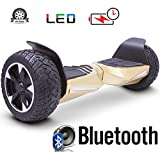 2018 Two Wheel Self Balance Scooter Off-Road Hoverboard UL 2272 Bluetooth Speakers 8.5 Inch All Terrain Road Condition (Gold)