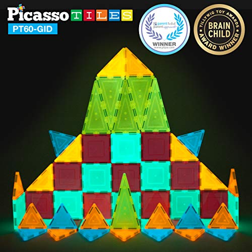 PicassoTiles Kids Toy Building Block Set Glow in The Dark Children Construction Kit Magnet Tiles Magnetic STEM Interlocking Playboard Educational Learning Stacking Blocks Child Brain Development PT60