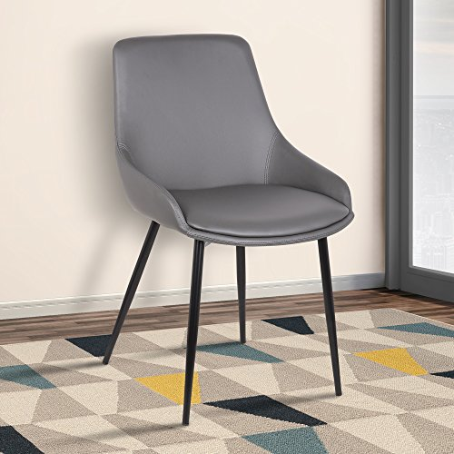 Armen Living LCMICHGREY Mia Dining Chair in Grey Faux Leather and Black Powder Coat Finish